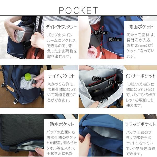 フラップ バックパック リュック 撥水 背面 ファスナー/ポケット付き バッグ|kanaemina|02
