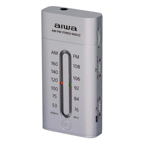 小型ラジオポケットラジオ携帯用おしゃれaiwaAM/FMワイドFM対応低音強調機能付きシルバー