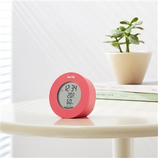 温湿度計  デジタル 温度計 湿度計 タニタ 置き マグネット式 インテリアサーモ ピンク