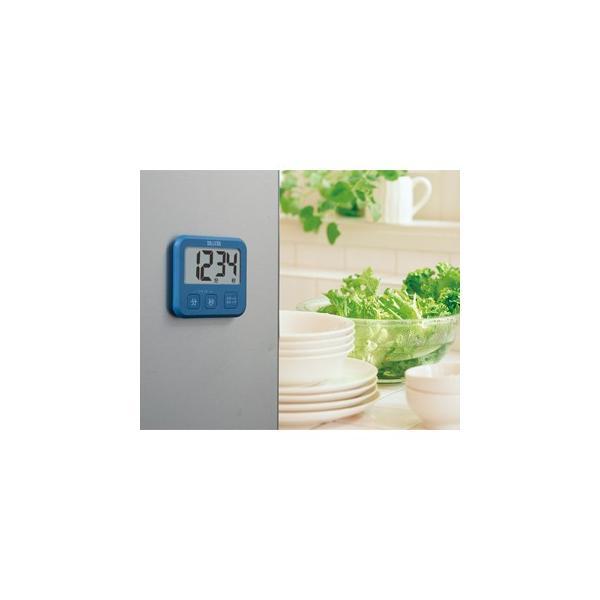 キッチンタイマー タニタ 超薄型 薄い 大画面 簡単 デジタルタイマー ブルー