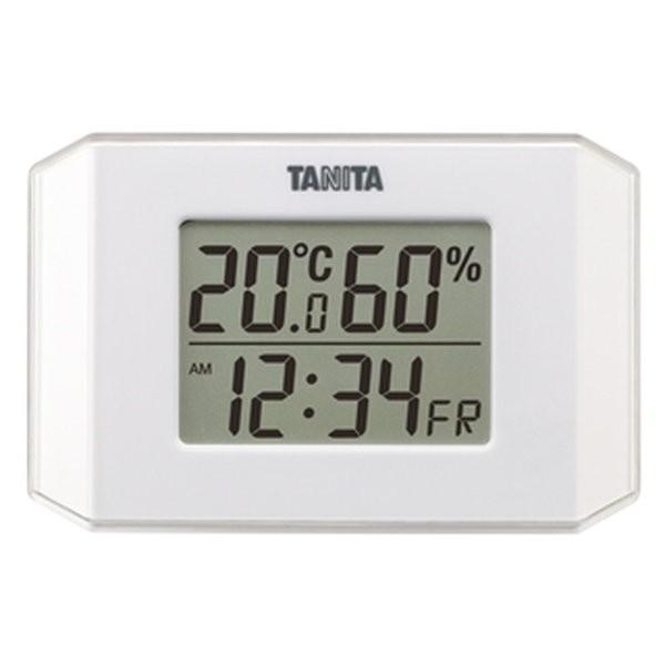 温湿度計 温度計 湿度計 デジタル タニタ 時計 日付表示付き 薄型 コンパクト ホワイト