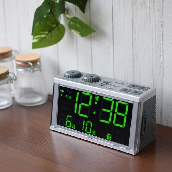 置き時計 目覚まし時計 電波時計 大きい文字 見やすい デジタル おしゃれ シンプル簡単|kanaemina