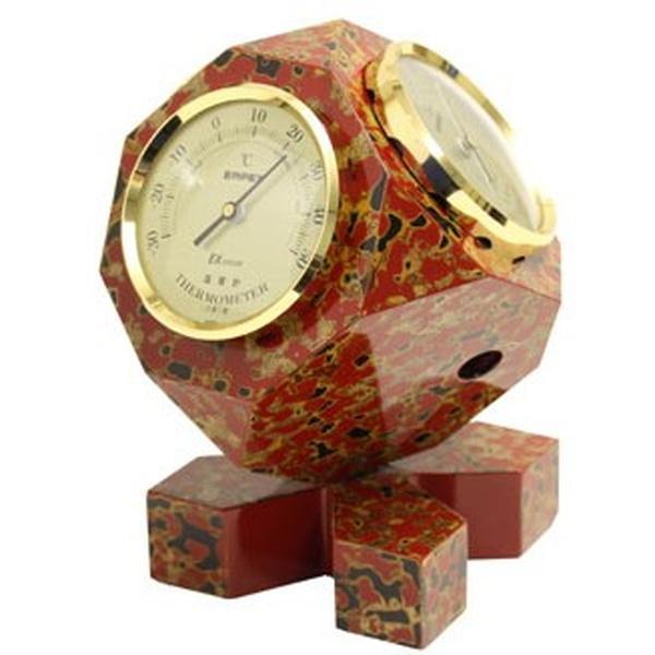 気象計 気圧計 温度計 湿度計 アナログ SAIKORO 卓上用 おしゃれ 津軽塗 漆塗り 和風 インテリア 日本製