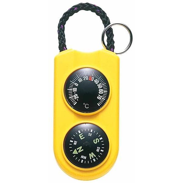 コンパス 方位磁石 方位磁針 温度計 小型 ミニ サーモメーター イエロー