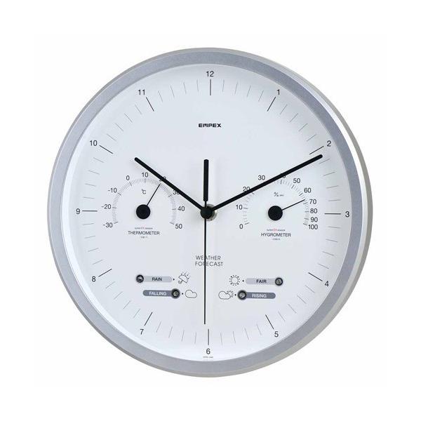 壁掛け時計 アナログ 高精度センサー 温度計 湿度計 温湿度計 天気予測計 日本製