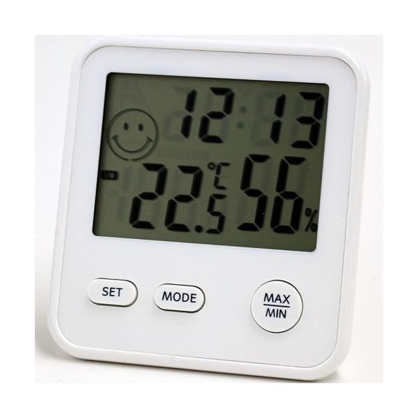 温湿度計 温度計 湿度計 デジタル 小型 大きい画面 おしゃれ ホワイト 卓上 置き掛け兼用