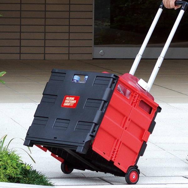 キャリーカート ワゴン コンテナキャリー 耐荷重35kg Lサイズ 折りたたみ 台車 カート 折り畳み 頑丈