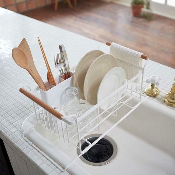 伸縮水切りかご 水切りバスケット 食器ラック ドレイナー シンク用 キッチン トスカ 白 ホワイト|kanaemina