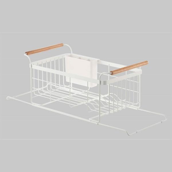 伸縮水切りかご 水切りバスケット 食器ラック ドレイナー シンク用 キッチン トスカ 白 ホワイト|kanaemina|04