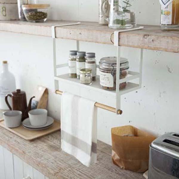戸棚下収納ラック 調味料 スパイスラック 小物ハンガー キッチン収納 トスカ 白 ホワイト|kanaemina