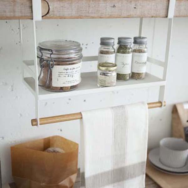 戸棚下収納ラック 調味料 スパイスラック 小物ハンガー キッチン収納 トスカ 白 ホワイト|kanaemina|02
