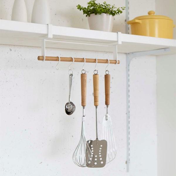 戸棚下ツールハンガー キッチンツールフック 横型 トスカ 白 ホワイト|kanaemina
