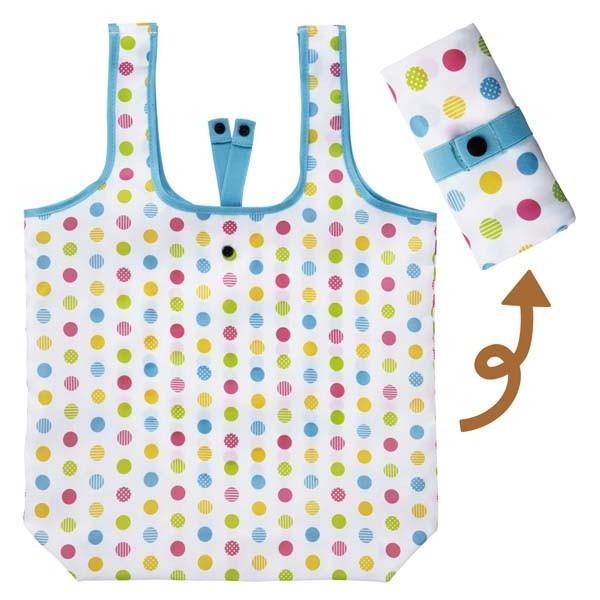 お買い物バッグ 買い物バック 折り畳み 買い物袋 エコバッグ 手提げ トートバッグ カラフルドット|kanaemina|02