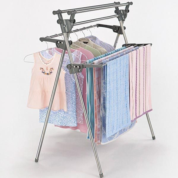 室内物干しスタンド ものほし台 バスタオル掛け 折りたたみ X型 ステンレス製 2段