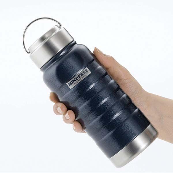 水筒 ステンレスボトル マグボトル 1000ml 1L 直飲み 保温 保冷 真空二重断熱 ネイビー ホワイト|kanaemina|04