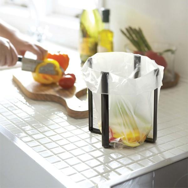 ポリ袋エコホルダー 三角コーナー いらず 使わない おしゃれ キッチンスタンド  生ゴミ袋ホルダー