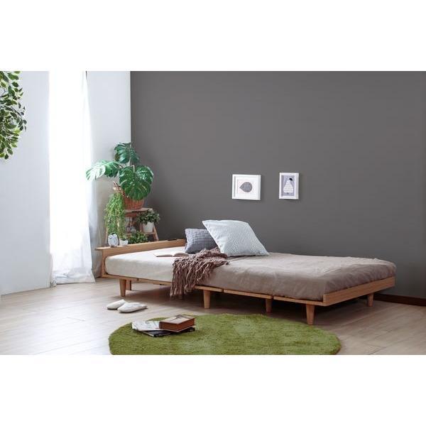 ベッドフレーム セミダブル ローベッド 北欧テイスト 木製 宮棚 2口コンセント付き|kanaemina|02