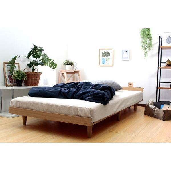 ベッドフレーム セミダブル ローベッド 北欧テイスト 木製 宮棚 2口コンセント付き|kanaemina|13