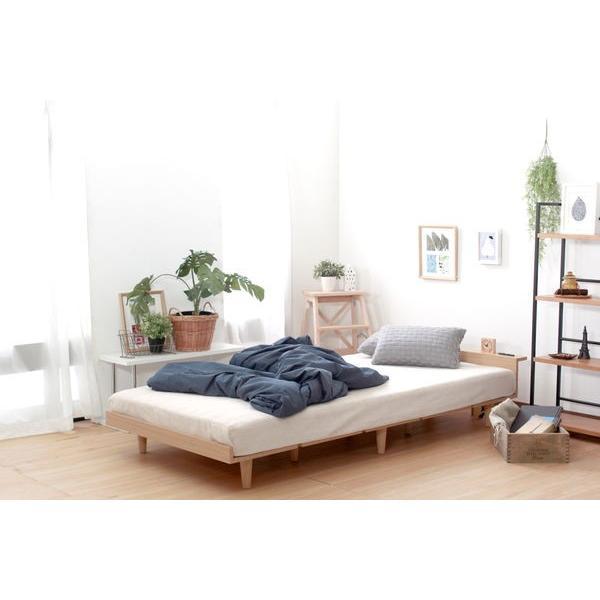ベッドフレーム セミダブル ローベッド 北欧テイスト 木製 宮棚 2口コンセント付き|kanaemina|14