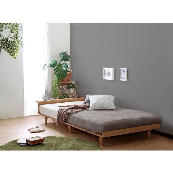 ベッドフレーム セミダブル ローベッド 北欧テイスト 木製 宮棚 2口コンセント付き|kanaemina|03