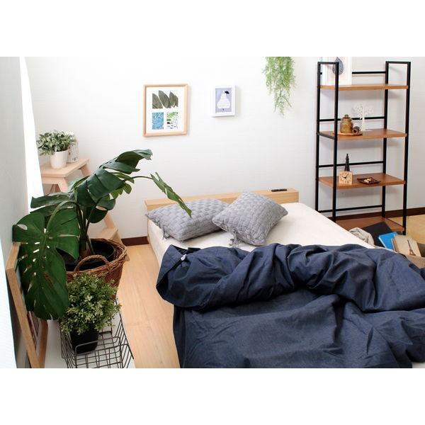 ベッドフレーム セミダブル ローベッド 北欧テイスト 木製 宮棚 2口コンセント付き|kanaemina|07