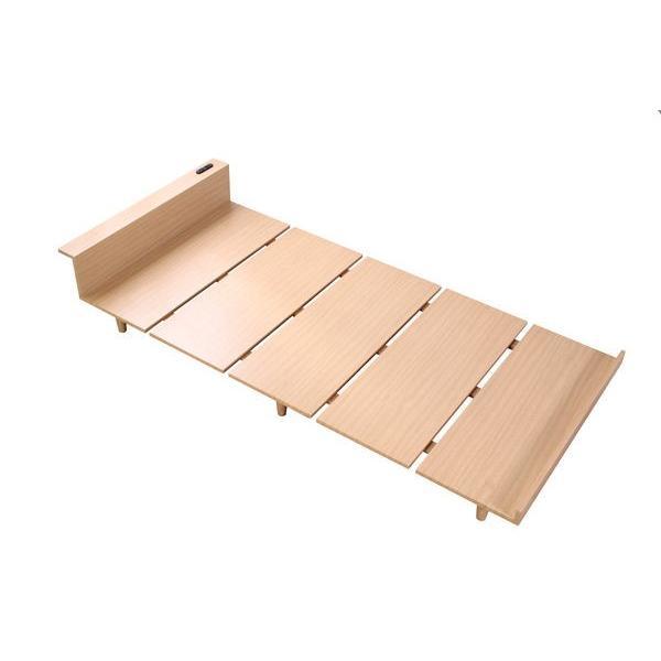 ベッドフレーム セミダブル ローベッド 北欧テイスト 木製 宮棚 2口コンセント付き|kanaemina|09