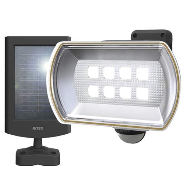 ムサシ 8W ワイド フリーアーム式 LEDソーラーセンサーライト S-80L ライテックス 800ルーメン LED寿命約40000時間 musashi