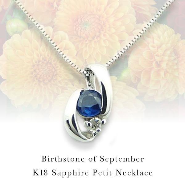 K18 ネックレス サファイア ダイヤ 9月誕生石 Birthstone ビジュー レディースジュエリー
