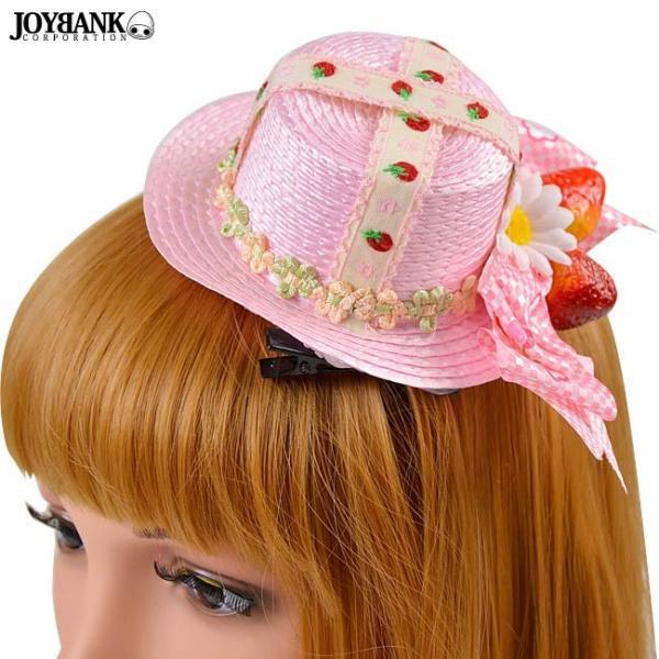 ハロウィン コスプレ ミニハット ゴシック ヘアアクセ ヘアクリップ いちご ピンク レディース ファッション