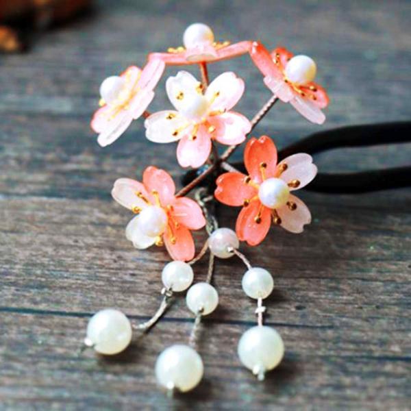 髪飾り 成人式 かんざし 和装 二又簪 桜 花 パールビーズ 卒業 結婚 ヘアアクセサリー レディース