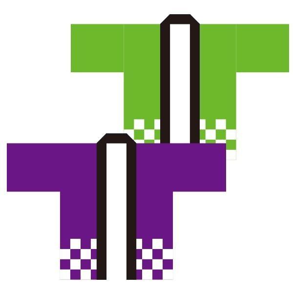 お祭りはっぴ(国産法被)市松 紫 緑 青 男女兼用 Fサイズ ポリエステル使用|kanbankobo|02