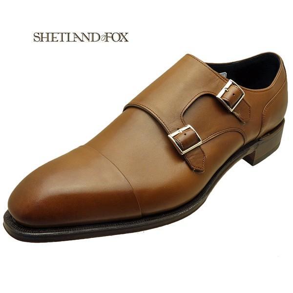 シェットランド フォックス SHETLAND FOX バーミンガム ダブルモンクストラップ 043FSF ブラウン 本革 靴 メンズ ビジネスシューズ|kanda-mimatsu