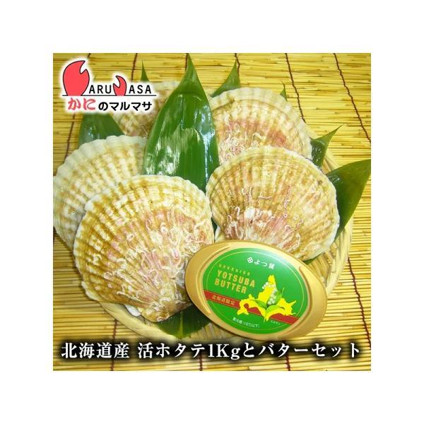活ホタテ貝 1kg&よつ葉バターセット 北海道産 殻付きほたて お中元 ギフト お土産 通販