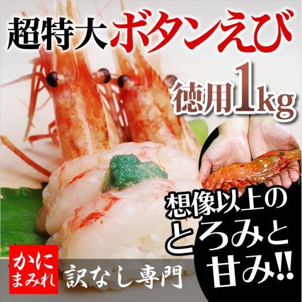 抜群の鮮度!デカすぎる最高級無添加ボタンエビ(刺身用超特大)【高級寿司店使用】1kg