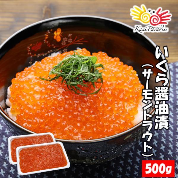 いくら醤油漬 ( サーモントラウト 卵 ) 500g(250g×2パック入り) / 北欧サーモン いくら イクラ 小粒|kanipara