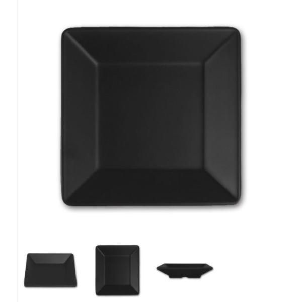 スタイリッシュ メラミン食器 (Mat Black)【スクエアプレート□144mm】洋風 カフェ用のおしゃれなお皿|kankokunabepro|02