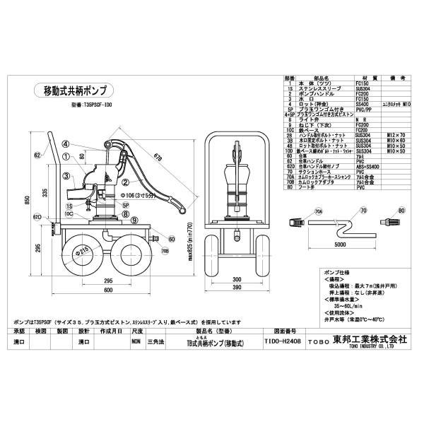 TOBO東邦工業 移動式手押しポンプ<共柄ポンプ型>『それ行けポンプ』T35PSCF−IDO|kankyogreenshop2|02