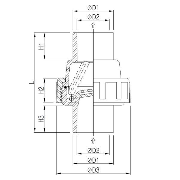 関西化工 逆止弁 ポンプ コンパクトスウィングチェックバルブ 40A/50A|kansaikako|02