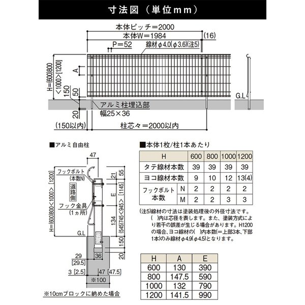 スチールメッシュフェンス(ネットフェンス) 国内一流メーカー品 本体 T60 シンプルメッシュフェンス3|kantoh-house|02