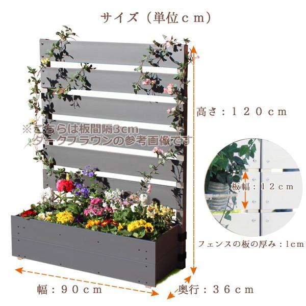 フェンス ガーデンフェンス プランター付きフェンス 目隠し おしゃれフェンス ガーデニング 木目調 樹脂製 高さ120cm×幅90cm 板間隔3cm 連結使用可能|kantoh-house|03