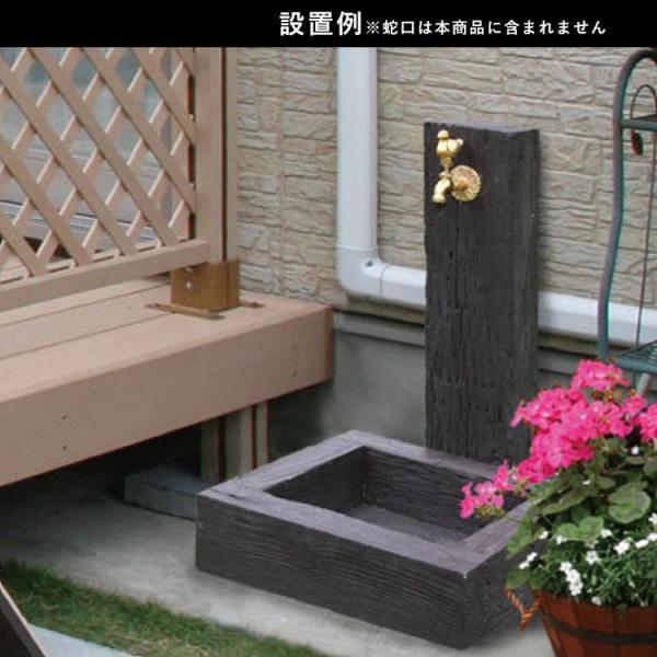 水栓柱カバー 立水栓 水栓柱 かぶせるだけの工事不要水道カバー 木質調 枕木風|kantoh-house|02