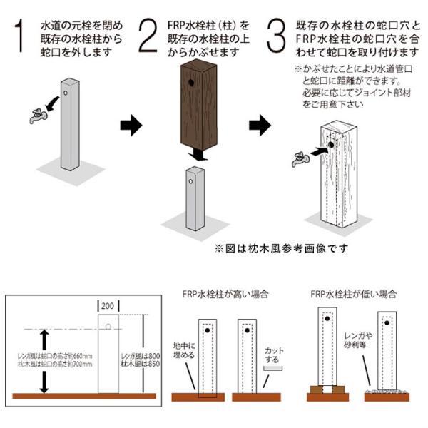 水栓柱カバー 立水栓 水栓柱 かぶせるだけの工事不要水道カバー 木質調 枕木風|kantoh-house|04