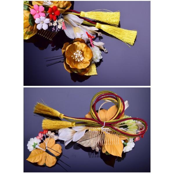花 髪飾り セット 209815gl かんざし 2点セット ゴールド 金色 組紐 金房 コーム 成人式 振袖 髪飾り 卒業式 袴 髪飾り 結婚式 和服 和装 着物 浴衣|kanzashi|04