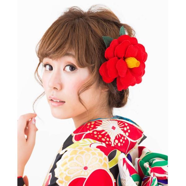 卒業式 袴 髪飾り 赤 かんざし 振袖 成人式 髪飾り 和装 結婚式 髪飾り 花 大輪椿 レトロ モダン 日本製|kanzashi|05