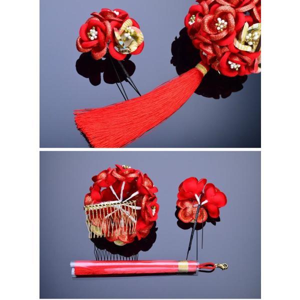 かんざし 髪飾り 七五三 髪飾り 7歳 赤 女の子 コーム 日本製 花てまり 房付き 薔薇 七歳 kanzashi 03