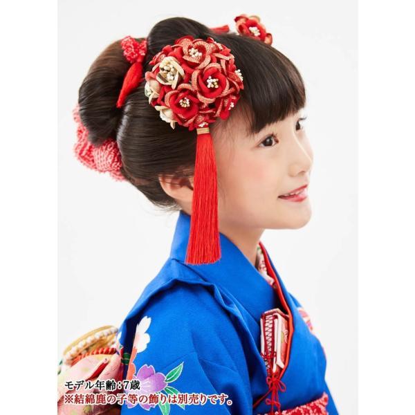 かんざし 髪飾り 七五三 髪飾り 7歳 赤 女の子 コーム 日本製 花てまり 房付き 薔薇 七歳 kanzashi 04