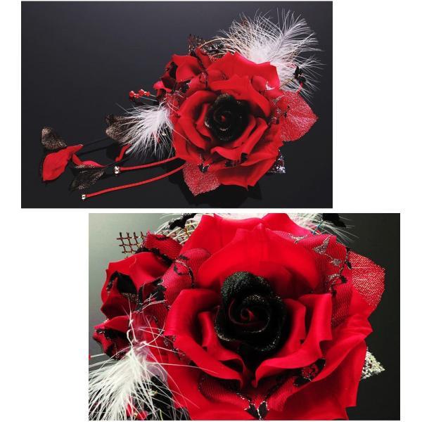 卒業式 袴 髪飾り 赤 かんざし 振袖 成人式 髪飾り 和装 着物 花 髪飾り 薔薇 羽 水引|kanzashi|02