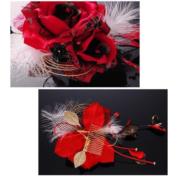 卒業式 袴 髪飾り 赤 かんざし 振袖 成人式 髪飾り 和装 着物 花 髪飾り 薔薇 羽 水引|kanzashi|03