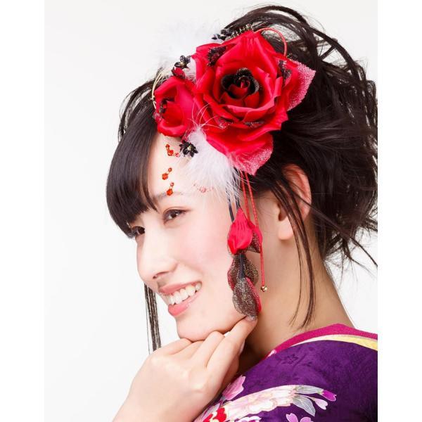 卒業式 袴 髪飾り 赤 かんざし 振袖 成人式 髪飾り 和装 着物 花 髪飾り 薔薇 羽 水引|kanzashi|04