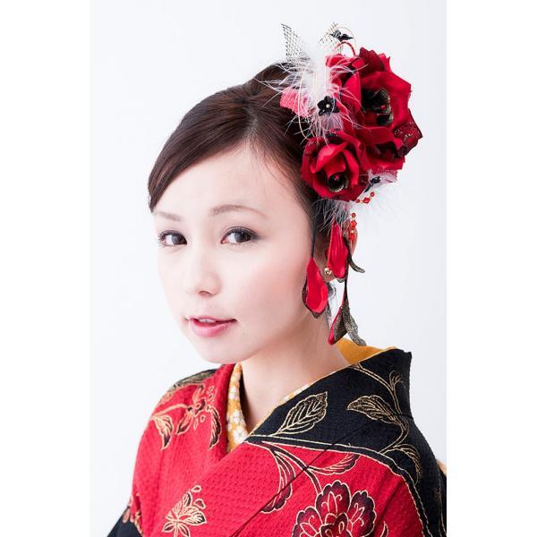 卒業式 袴 髪飾り 赤 かんざし 振袖 成人式 髪飾り 和装 着物 花 髪飾り 薔薇 羽 水引|kanzashi|05